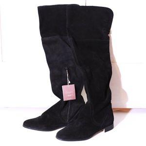 Zara Over the Knee Black Suede Low Heel Boots